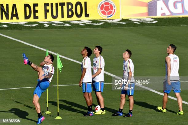 James Rodriguez Juan Cuadrado Stefan Medina Santiago Arias and Daniel Torres of Colombia look on during a training session at Autonoma del Caribe...