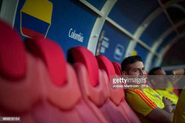 James Rodriguez looks on during Colombia Training at Spartak Stadium on July 2 2018 in Moscow Russia