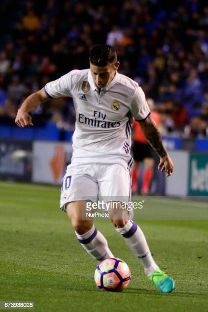 James Rodriguez midfielder of Real Madrid controls the ball during the La Liga Santander match between Deportivo de La Corua and Real Madrid at...