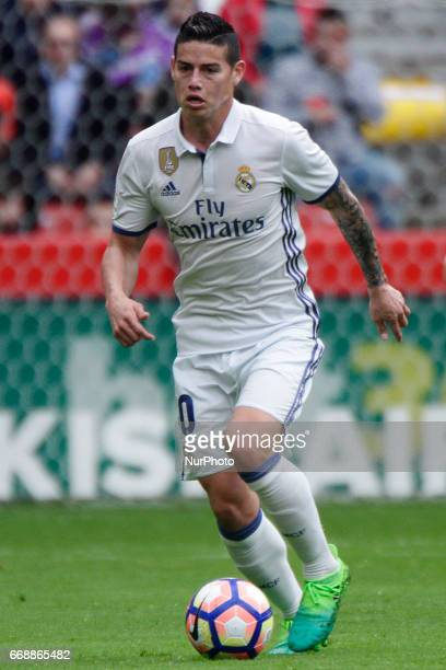 James Rodriguez midfielder of Real Madrid drives the ball during the La Liga Santander match between Sporting de Gijon and Real Madrid at Molinon...