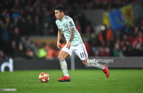 James Rodriguez of Bayern in action during the UEFA Champions League Round of 16 First Leg match between Liverpool and FC Bayern Munich at Anfield on...
