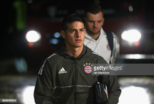 James Rodriguez of Bayern Muenchen arrive to the stadium prior to the UEFA Champions League group B match between Celtic FC and Bayern Muenchen at...