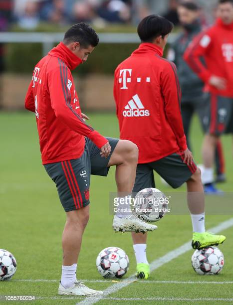James Rodriguez of Bayern Muenchen balnces the ball during a training session at Saebener Strasse training ground on October 31 2018 in Munich Germany