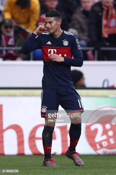 James Rodriguez of Bayern Muenchen celebrates after he scored a goal to make it 20 during the Bundesliga match between 1 FSV Mainz 05 and FC Bayern...