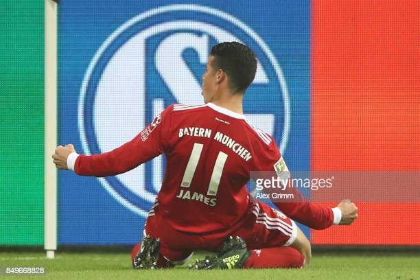 James Rodriguez of Bayern Muenchen celebrates after he scored his teams second goal to make it 20 during the Bundesliga match between FC Schalke 04...