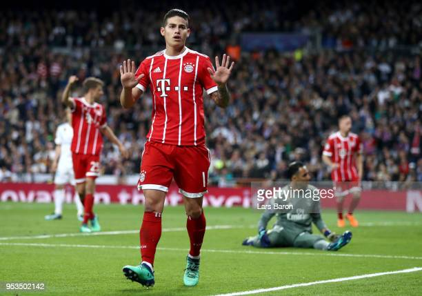 James Rodriguez of Bayern Muenchen celebrates scores his sides second goal past Keylor Navas of Real Madrid during the UEFA Champions League Semi...