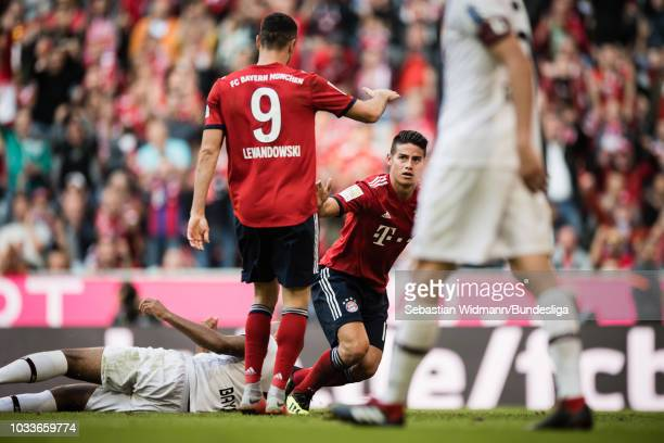 James Rodriguez of Bayern Muenchen celebrates scoring his teams third goal during the Bundesliga match between FC Bayern Muenchen and Bayer 04...