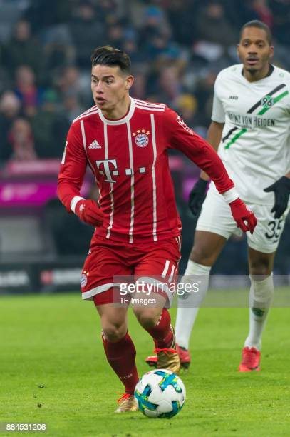 James Rodriguez of Bayern Muenchen controls the ball during the Bundesliga match between FC Bayern Muenchen and Hannover 96 at Allianz Arena on...
