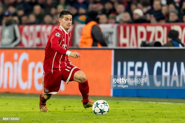 James Rodriguez of Bayern Muenchen controls the ball during the UEFA Champions League group B match between Bayern Muenchen and Paris SaintGermain at...
