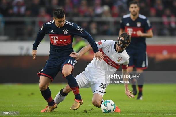 James Rodriguez of Bayern Muenchen fights for the ball with Christian Gentnerof Stuttgart during the Bundesliga match between VfB Stuttgart and FC...