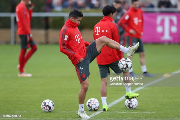 James Rodriguez of Bayern Muenchen in action during a training session at Saebener Strasse training ground on October 31 2018 in Munich Germany