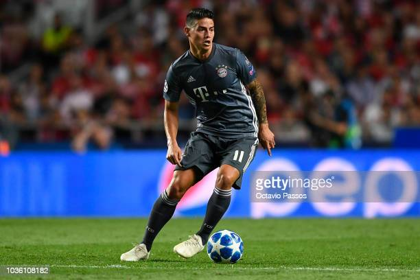 James Rodriguez of Bayern Muenchen in action during the Group E match of the UEFA Champions League between SL Benfica and FC Bayern Muenchen at...