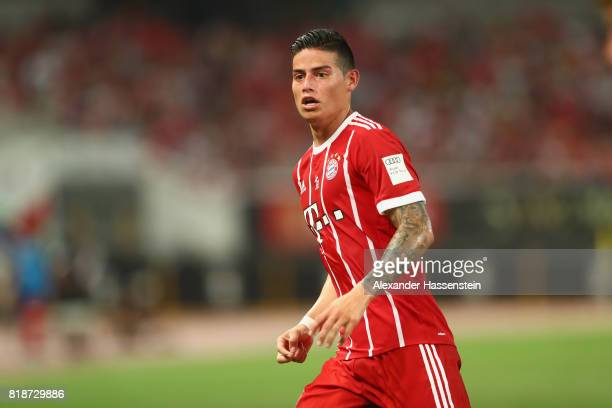 James Rodriguez of Bayern Muenchen looks on during the Audi Football Summit 2017 match between Bayern Muenchen and Arsenal FC at Shanghai Stadium...