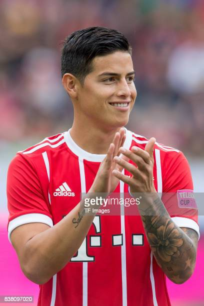 James Rodriguez of Bayern Muenchen looks on during the Telekom Cup 2017 Final between SV Werder Bremen and FC Bayern Muenchen at Borussia Park on...