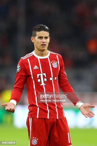James Rodriguez of Bayern Muenchen looks on during the UEFA Champions League group B match between FC Bayern Muenchen and RSC Anderlecht at Allianz...