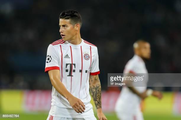 James Rodriguez of Bayern Muenchen looks on during the UEFA Champions League group B match between Paris SaintGermain of Paris SaintGermain and...