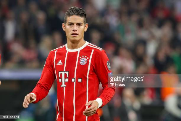 James Rodriguez of Bayern Muenchen looks on during the UEFA Champions League group B match between Bayern Muenchen and Celtic FC at Allianz Arena on...