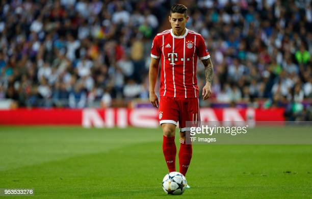James Rodriguez of Bayern Muenchen looks on during the UEFA Champions League Semi Final Second Leg match between Real Madrid and Bayern Muenchen at...