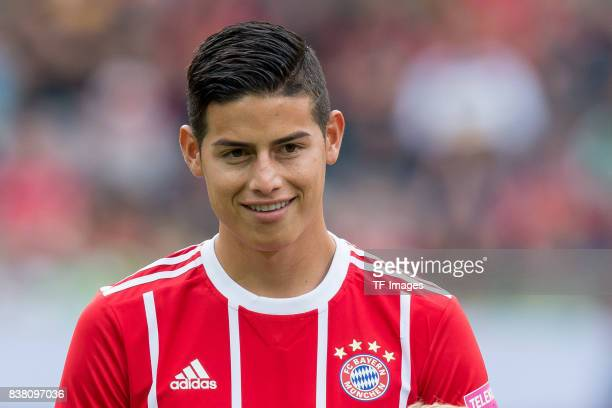 James Rodriguez of Bayern Muenchen looks on lacht lachen during the Telekom Cup 2017 Final between SV Werder Bremen and FC Bayern Muenchen at...
