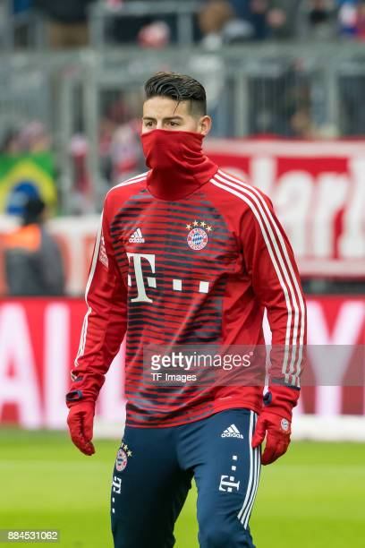 James Rodriguez of Bayern Muenchen looks on prior to the Bundesliga match between FC Bayern Muenchen and Hannover 96 at Allianz Arena on December 2...