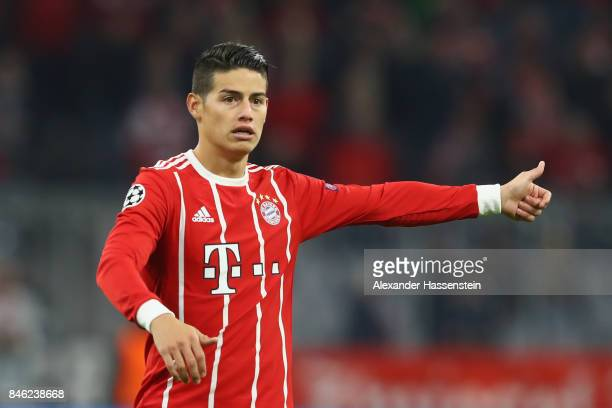 James Rodriguez of Bayern Muenchen reacts during the UEFA Champions League group B match between FC Bayern Muenchen and RSC Anderlecht at Allianz...