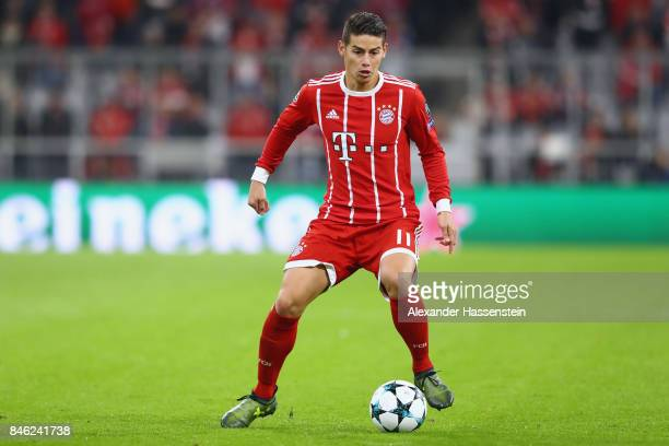 James Rodriguez of Bayern Muenchen runs with the ball during the UEFA Champions League group B match between FC Bayern Muenchen and RSC Anderlecht at...