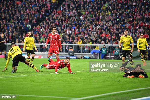 James Rodriguez of Bayern Muenchen scores a goal to make it 20 during the Bundesliga match between FC Bayern Muenchen and Borussia Dortmund at...