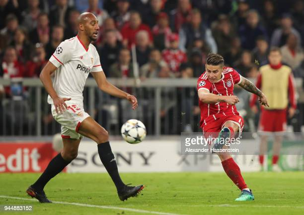 James Rodriguez of Bayern Muenchen shoots during the UEFA Champions League Quarter Final Second Leg match between Bayern Muenchen and Sevilla FC at...