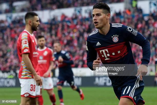James Rodriguez of Bayern Munchen celebrates 02 during the German Bundesliga match between FSV Mainz v Bayern Munchen at the Opel Arena on February 3...
