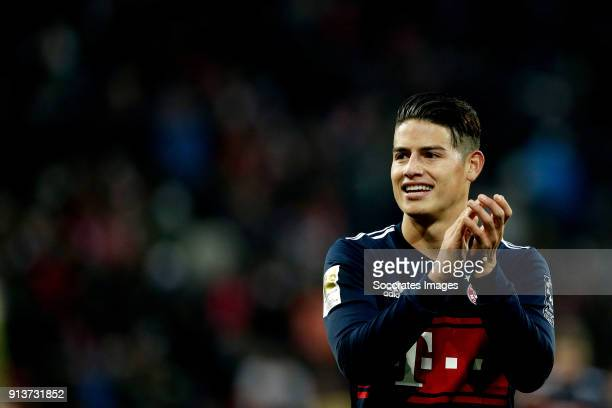 James Rodriguez of Bayern Munchen celebrates the victory during the German Bundesliga match between FSV Mainz v Bayern Munchen at the Opel Arena on...
