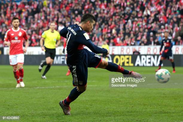 James Rodriguez of Bayern Munchen scores the second goal to make it 02 during the German Bundesliga match between FSV Mainz v Bayern Munchen at the...