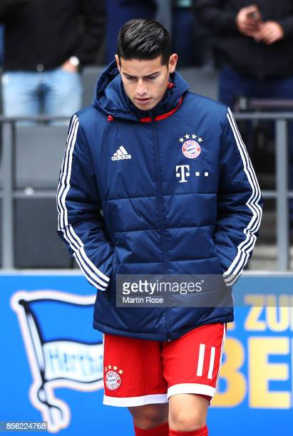 James Rodriguez of Bayern Munich before the Bundesliga match between Hertha BSC and FC Bayern Muenchen at Olympiastadion on October 1 2017 in Berlin...