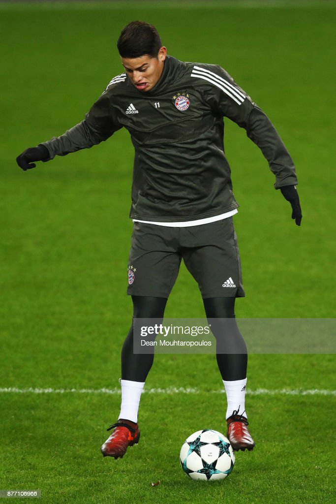 James Rodriguez of Bayern Munich is pictured during the Bayern Muenchen Training session held at the Constant Vanden Stock Stadium on November 21, 2017 in Brussels, Belgium. R.S.C. Anderlecht will play Bayern Munich in their Group B, Champions League match on the 22nd of November, 2017.