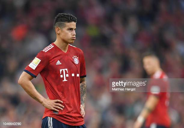 James Rodriguez of Bayern Munich looks dejected during the Bundesliga match between FC Bayern Muenchen and Borussia Moenchengladbach at Allianz Arena...