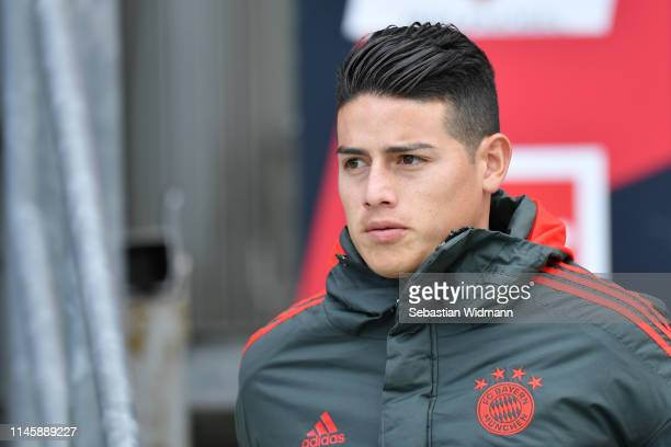 James Rodriguez of Bayern Munich looks on prior to the Bundesliga match between 1 FC Nuernberg and FC Bayern Muenchen at MaxMorlockStadion on April...