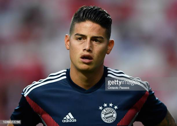 James Rodriguez of Bayern Munich looks on prior to the Group E match of the UEFA Champions League between SL Benfica and FC Bayern Muenchen at...