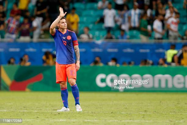 James Rodriguez of Colombia acknowledges the fans after winning the Copa America Brazil 2019 group B match between Argentina and Colombia at Arena...