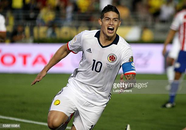James Rodriguez of Colombia celebrates after scoring a goal to Paraguay during a group A match between Colombia and Paraguay at Rose Bowl Stadium as...