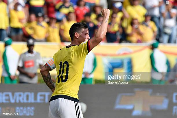 James Rodriguez of Colombia celebrates after scoring during a match between Colombia and Venezuela as part of FIFA 2018 World Cup Qualifiers at...