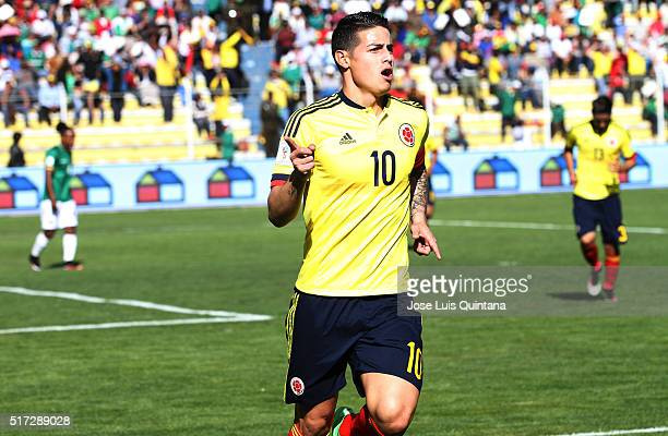 James Rodriguez of Colombia celebrates after scoring the first goal of his team during a match between Bolivia and Colombia as part of FIFA 2018...