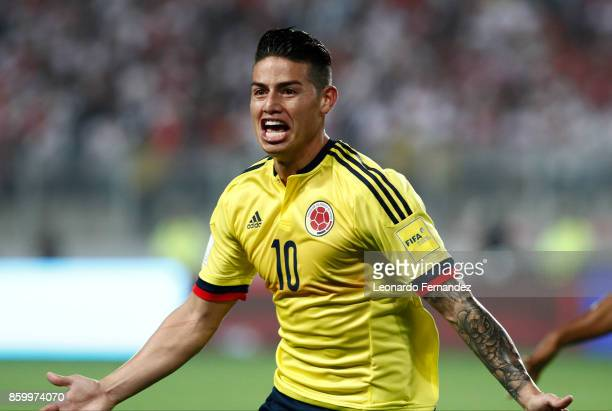 James Rodriguez of Colombia celebrates after scoring the first goal of his team during match between Peru and Colombia as part of FIFA 2018 World Cup...