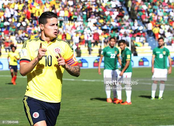 James Rodriguez of Colombia celebrates after scoring the opening goal during a match between Bolivia and Colombia as part of FIFA 2018 World Cup...