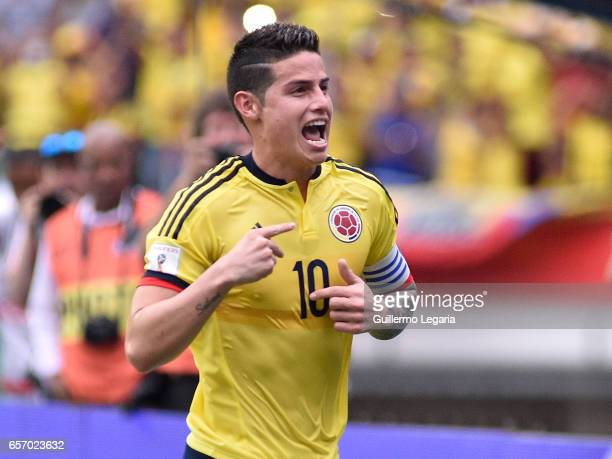 James Rodriguez of Colombia celebrates after scoring the opening goal during a match between Colombia and Bolivia as part of FIFA 2018 World Cup...