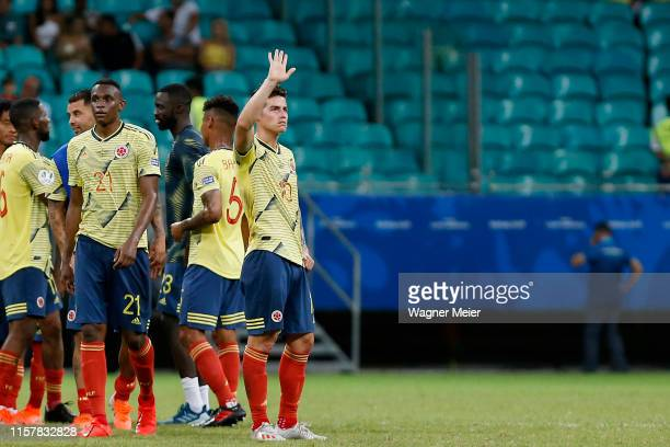 James Rodriguez of Colombia celebrates after winning the Copa America Brazil 2019 group B match between Colombia and Paraguay at Arena Fonte Nova on...