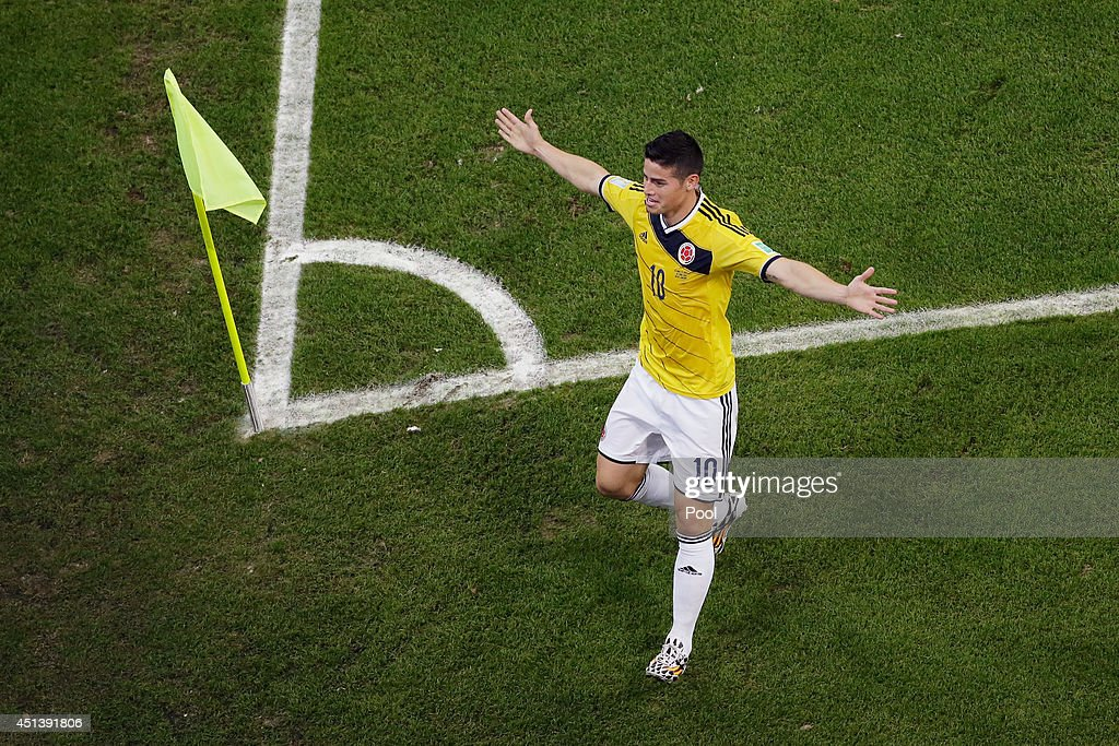 James Rodriguez of Colombia celebrates scoring his team's first goal during the 2014 FIFA World Cup Brazil round of 16 match between Colombia and Uruguay at Maracana on June 28, 2014 in Rio de Janeiro, Brazil.