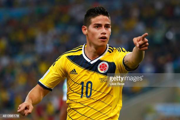 James Rodriguez Of Colombia Celebrates Scoring His Teams Second Goal And The Game
