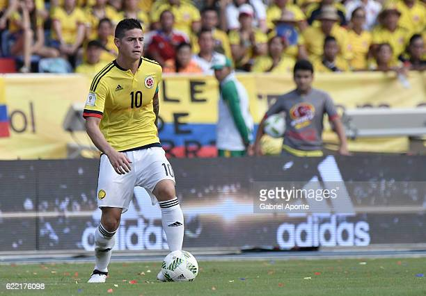 James Rodriguez of Colombia controls the ball during a match between Colombia and Chile as part of FIFA 2018 World Cup Qualifiers at Metropolitano...