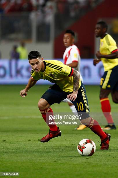 James Rodriguez of Colombia controls the ball during match between Peru and Colombia as part of FIFA 2018 World Cup Qualifiers at National Stadium on...
