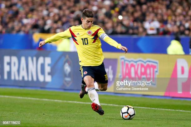 James Rodriguez of Colombia controls the ball during the international friendly match between France and Colombia at Stade de France on March 23 2018...