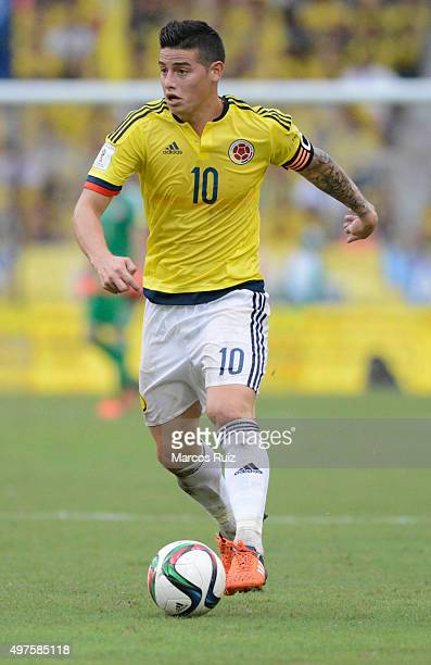 James Rodriguez of Colombia drives the ball during a match between Colombia and Argentina as part of FIFA 2018 World Cup Qualifiers at Metropolitano...